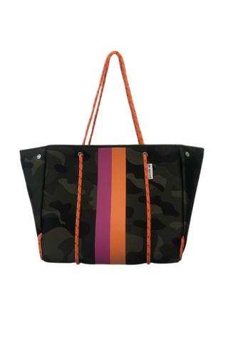Neoprene Tote w/ Stripes (Army Camo w/Pink/Orange)