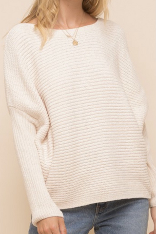 White Boat Neck Sweater