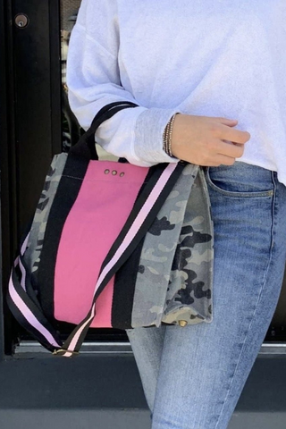 Zoey Camo & Pink Canvas Crossbody Tote