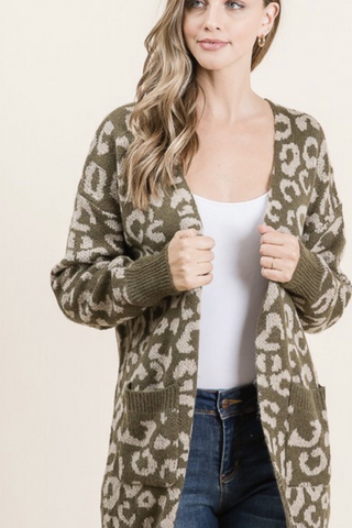 Animal Pattern Sweater Cardigan (Olive)