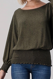 Banded Long Sleeve Top (Olive)