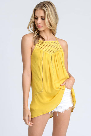 Eyelet Adjustable Strap Tank Mustard