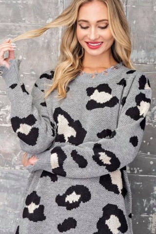 grey leopard distressed sweater dress