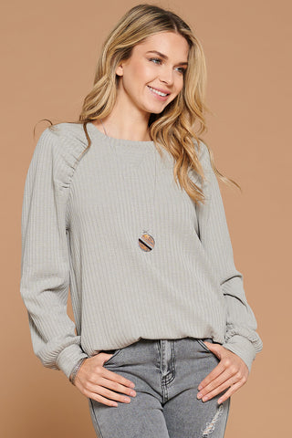 Raglan Puff Sleeve Top (Grey)