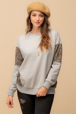 Leopard Contrast Pullover
