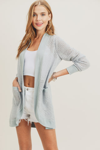 cocoon cardigan raw edge mint