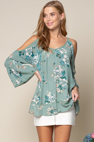 cold shoulder floral top green