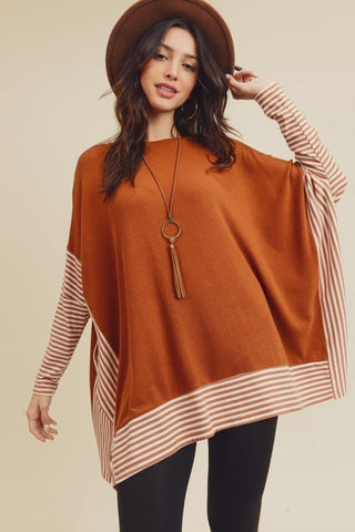 oversized poncho cape top honey brown