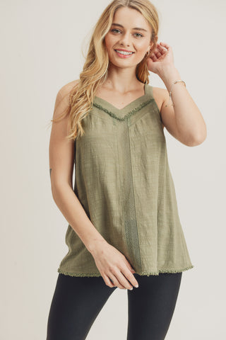 sage tank with mesh and fringe