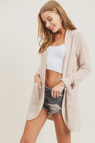 cocoon cardigan raw edge blush