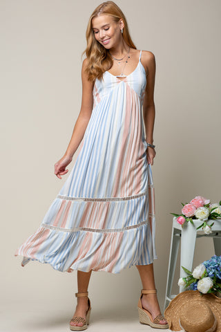 tiered stripe maxi dress front