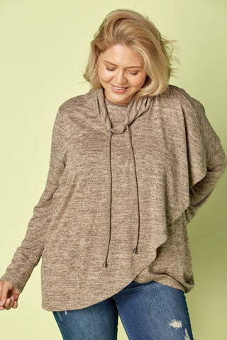 Plus Size, Cowl Neck Sweater (Coffee)