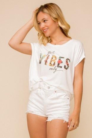 Good Vibes Printed Knit Top (Ivory)