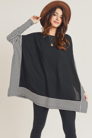 oversized poncho cape top black