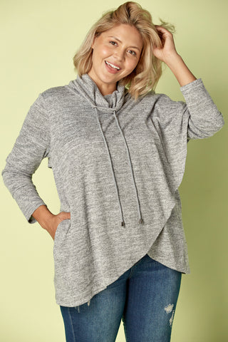 Plus Size, Cowl Neck Sweater (Grey)