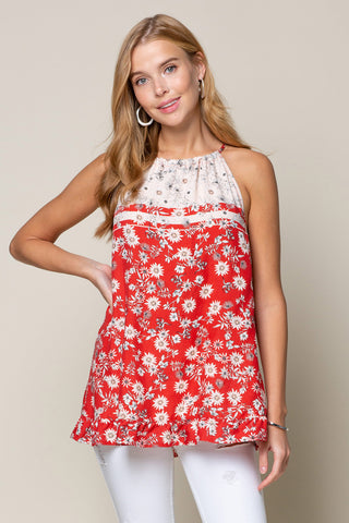 floral red white tunic top