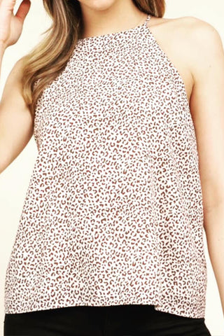 sleeveless halter top leopard