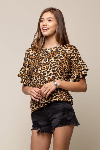 leopard ruffled sleeve knit top