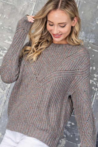 marled color pullover sweater grey