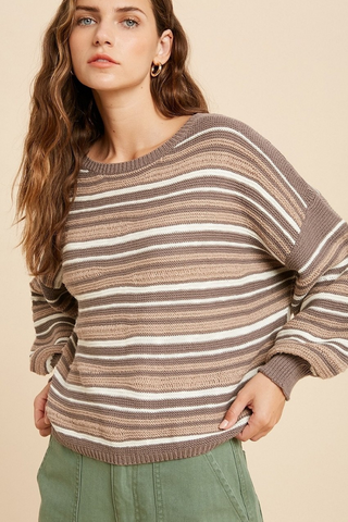 color block striped sweater mocha
