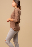 mocha ribbed button top