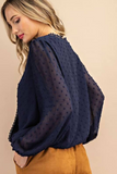 lace long sleeve top navy