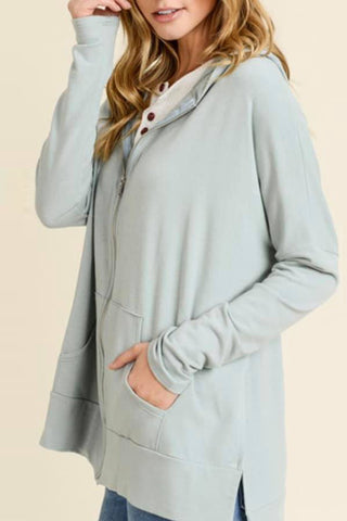 oversized zip up hoodie sage front