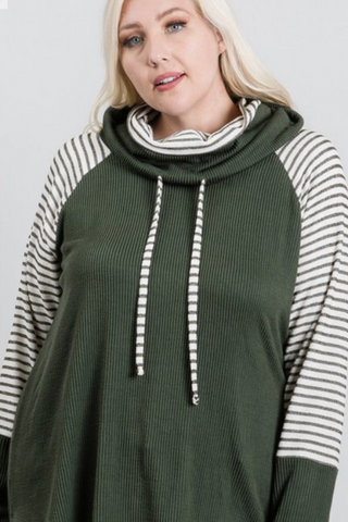stripe raglan turtleneck olive