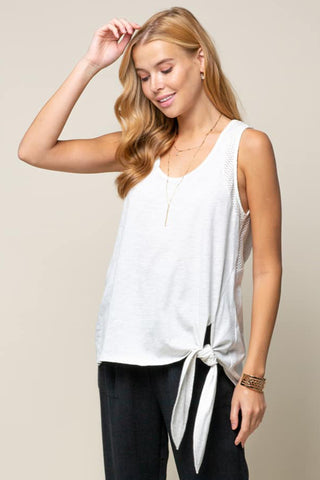 side tie lace detail top grey white