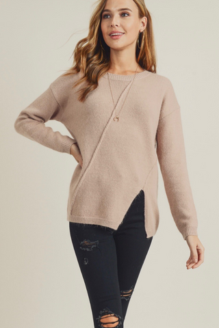 tan slit detail sweater