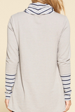 cowl neck stripe pullover