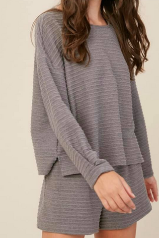 striped knit lounge set grey