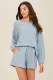blue knit lounge set