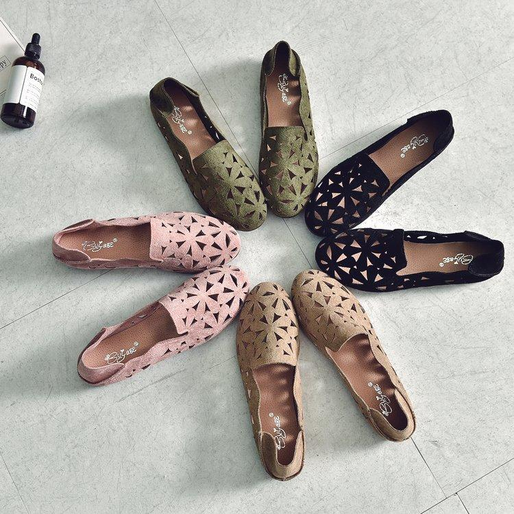 Casual Hollow Out Slip on Floral Comfortable Flat Loafers Leather Simple