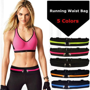 JOGGING GYM WORKOUT SLIM WAIST DOUBLE POCKET BELT