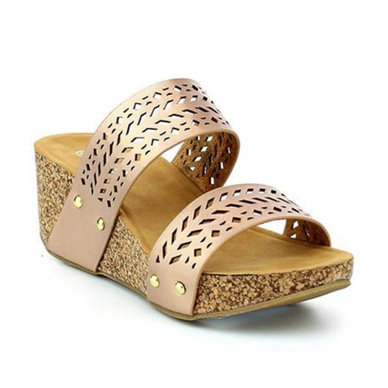 Women Wedge Slippers Hollow Casual Comfort Laser Cut Sandals