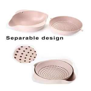 Multifunctional Fruits Washing Basket Double Layers Rotating Draining Colander