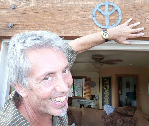 Tim Holtom: Nephew of the Designer of the International Peace Symbol with an upside down peace sign