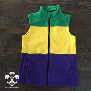 Mardi Gras Full Zip Fleece Vest