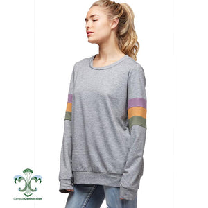 Mardi Gras Color Block Sleeve French Terry Sweatshirt - Heather Gray