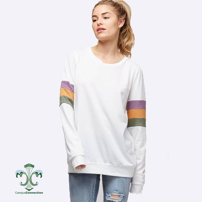 Mardi Gras Color Block Sleeve French Terry Sweatshirt - Off White