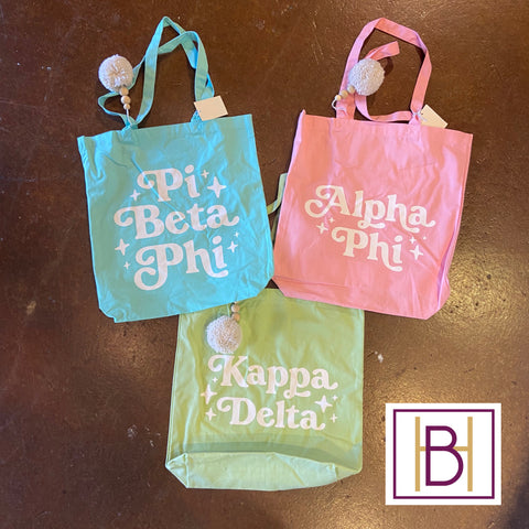 Sorority Pom Pom Tote Bag