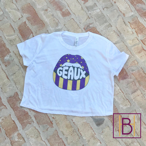 LSU Lips Bella Flowy Cropped Tee