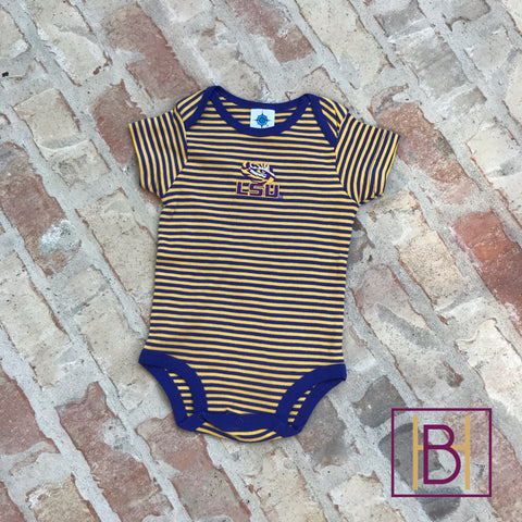 LSU Tigers Baby Striped Bodysuit