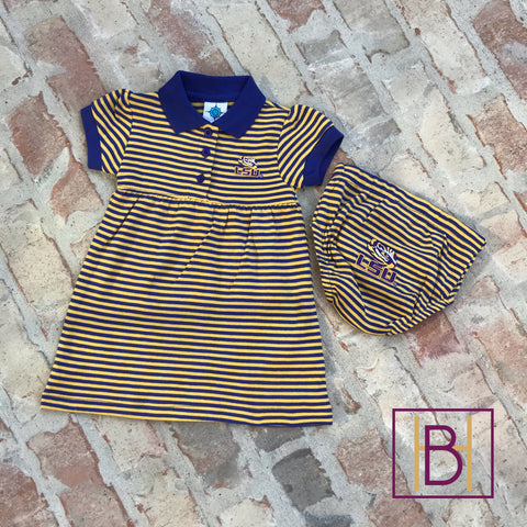 LSU Tigers Baby Striped Dress and Bloomers