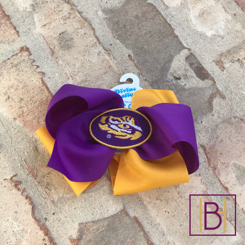 LSU Large Two Tone Hair Bow