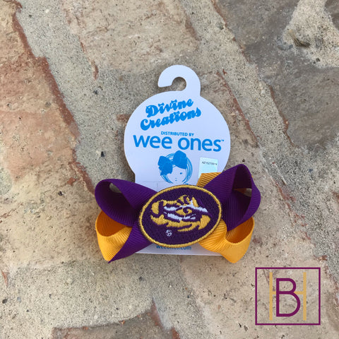 LSU Mini Two Tone Hair Bow