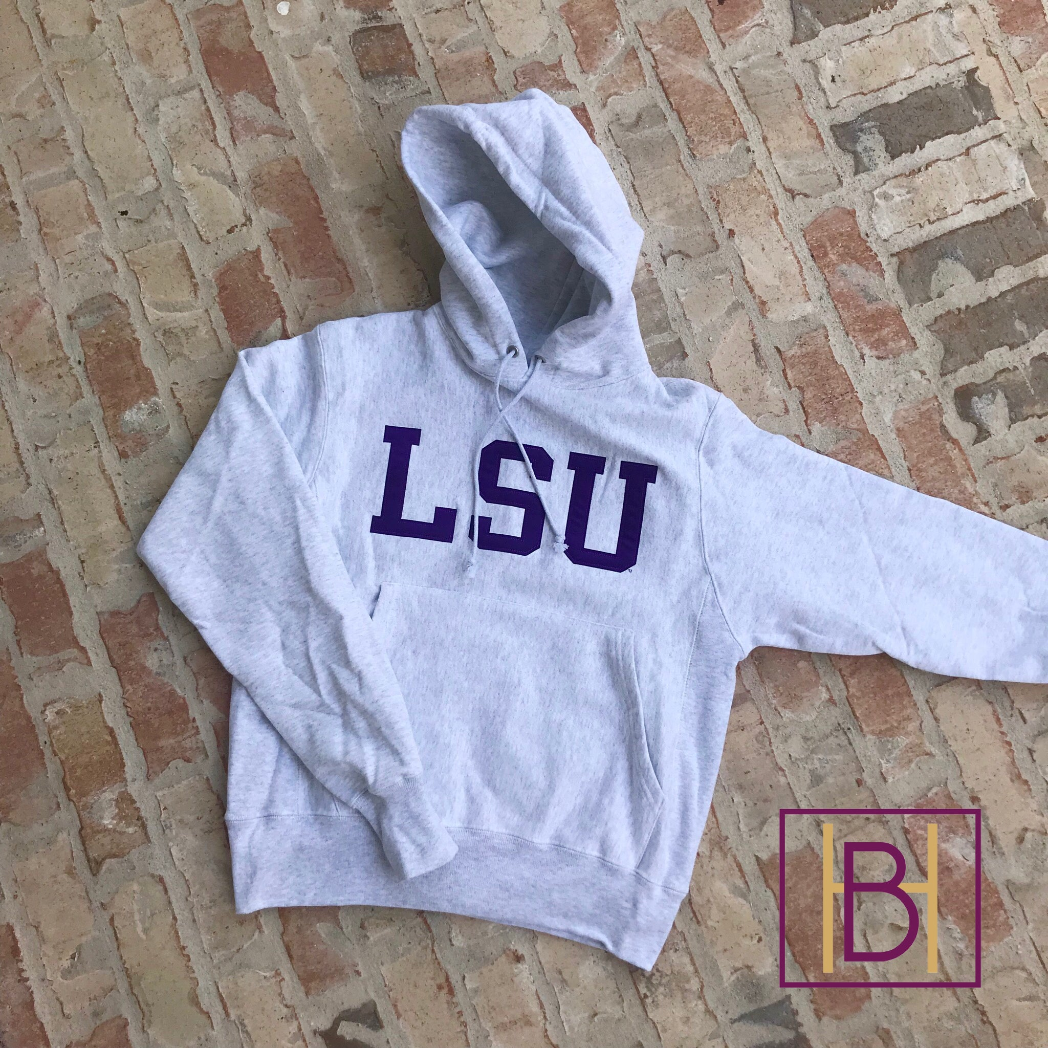 LSU Champion Reverse Weave Hooded Sweatshirt