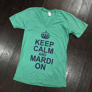 Keep Calm and Mardi On American Apparel V-Neck - Mint - Campus Connection - Campus Connection
