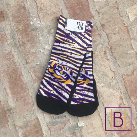 LSU 90s Stripe Quarter Length Socks